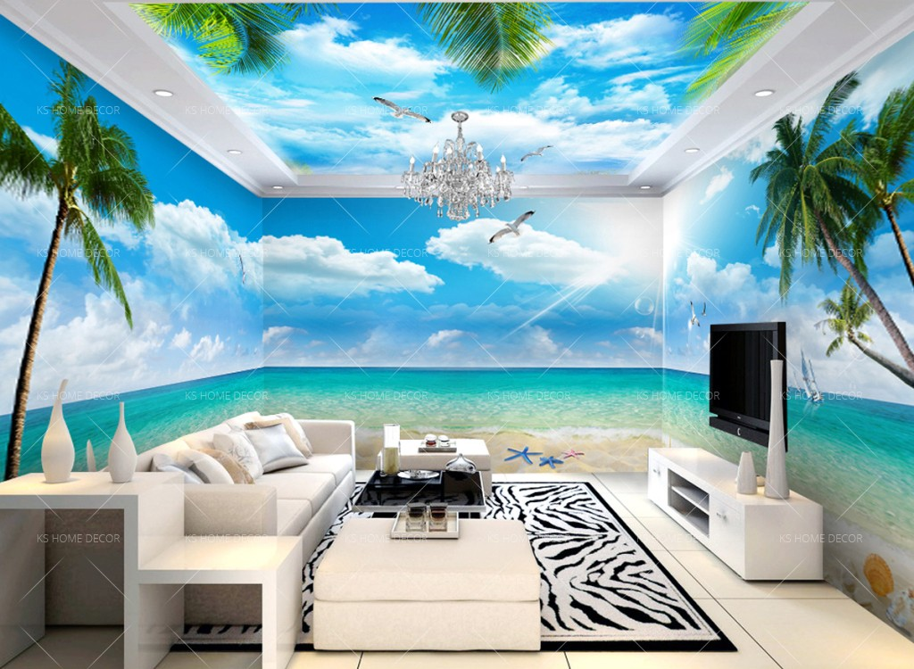 3d theme beach seaside nature mural 15812179 customize for Beach mural wallpaper