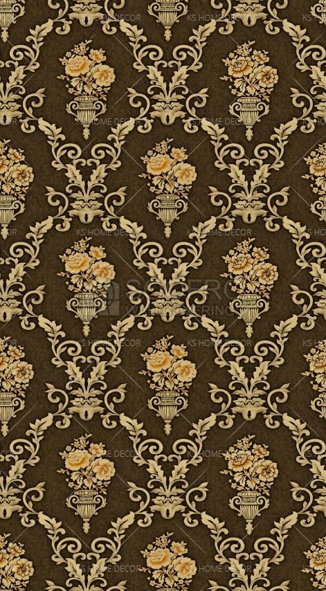 Brown Gold Black Damask Pattern Korea Wallpaper 2009 4 Customize
