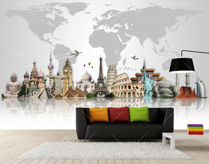 Best world map home wallpaper map murals customize wallpaper wall quality classic world map mural custom made to suit your wall size by the malaysia no1 for wall murals custom design service and express delivery gumiabroncs Choice Image