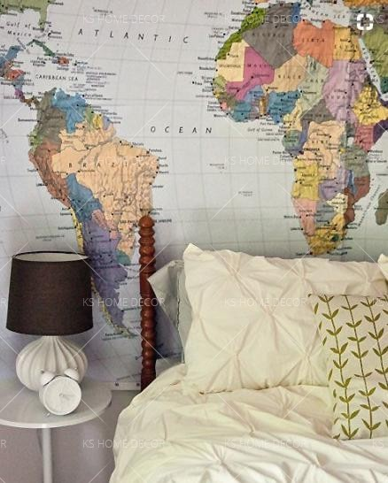 Best world map home wallpaper map murals customize wallpaper wall im always drawn to interiors that feature maps its partly that i love the way maps look and partly that i find traveling to be both incredibly thrilling gumiabroncs Gallery