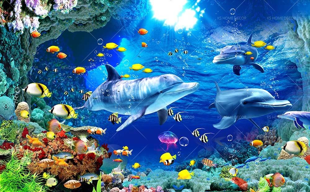 3d Under Sea Wallpaper 16015897 Customize Wallpaper Wall Sticker